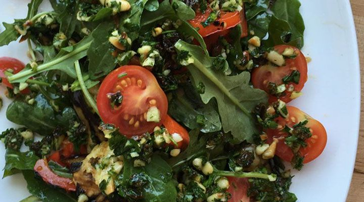 Grilled Summer Vegetable Salad with Arugula and Pine Nut-Raisin Gremolata Recipe