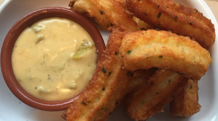 Savory Churros with Nacho Cheese Dipping Sauce