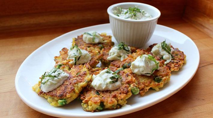 Indian Spiced Chickpea Pancakes with Leeks, Carrots and Peas with Yogurt Raita Recipe