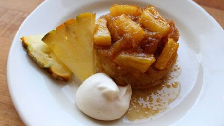 Pineapple Upside-Down Cakes with Whipped Crème Fraiche Recipe