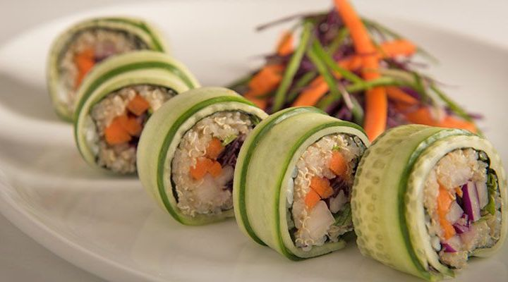 Quinoa-Cucumber Sushi Rolls with Cabbage, Carrots, Daikon and Shiso Recipe