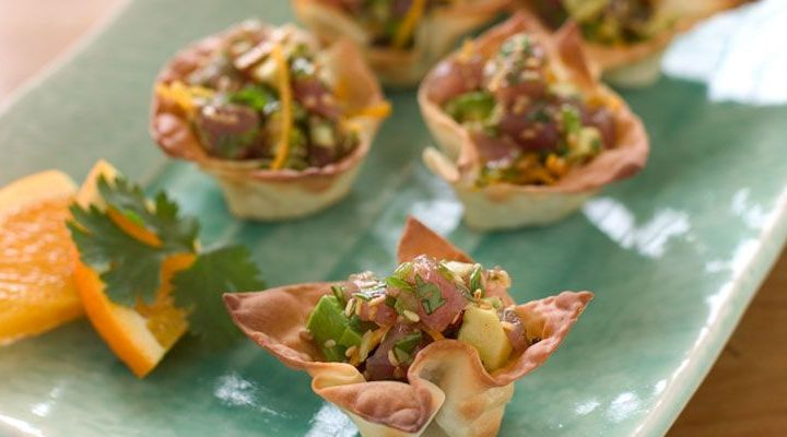 Ahi Tuna Tartare in Toasted Wonton Cups Recipe