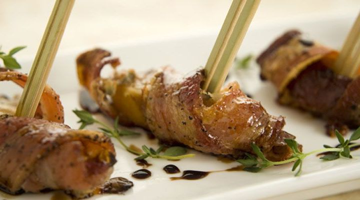 Bacon-Wrapped Peaches with Blue Cheese and Balsamic-Honey Glaze Recipe