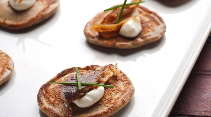 Buckwheat Blinis with House Smoked Trout and Sour Cream Recipe