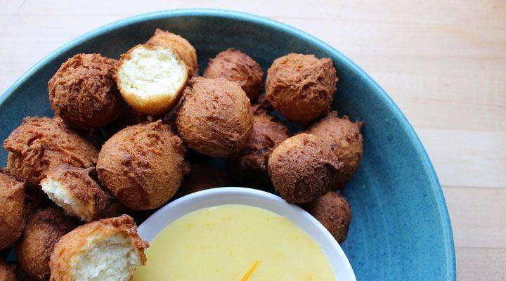 Buttermilk Donut Holes with Lemon Curd