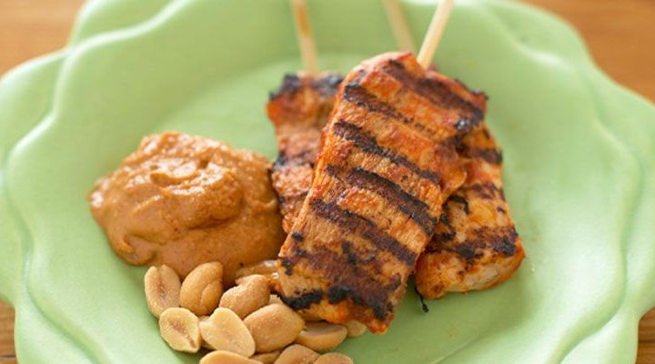 Chicken Skewers with Spicy Peanut Sauce Recipe