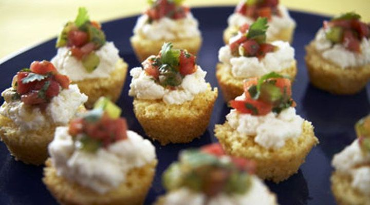 Cornbread Tartlets with Ricotta and Tomatoes Recipe