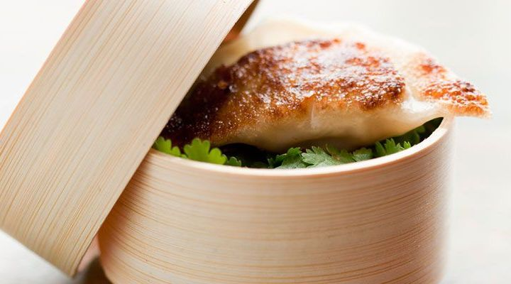 Crab Potstickers with Sesame-Ginger Sake Dipping Sauce Recipe