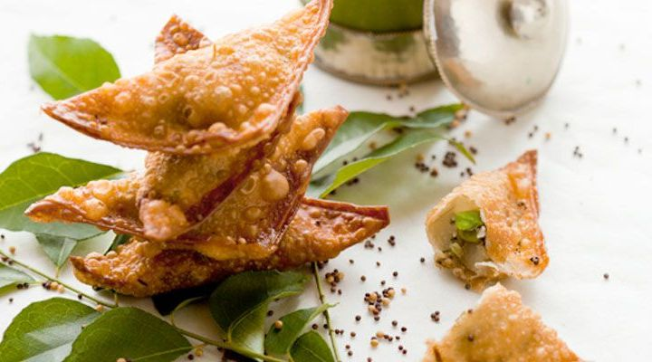 Crispy Vegetable Samosas with Mint Jalapeno Chutney