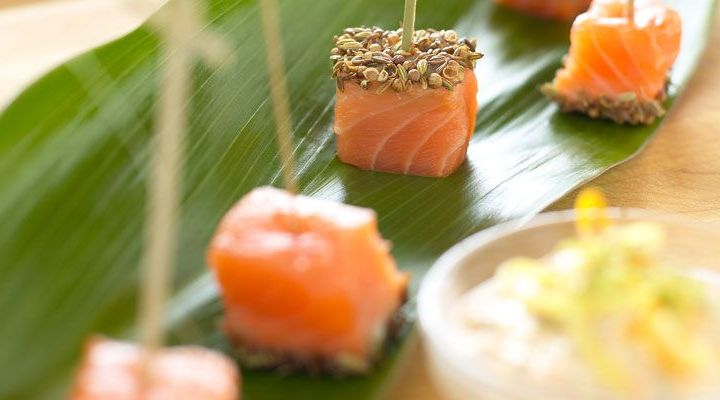 Curry-Dusted Salmon Skewers with Yogurt Dipping Sauce Recipe