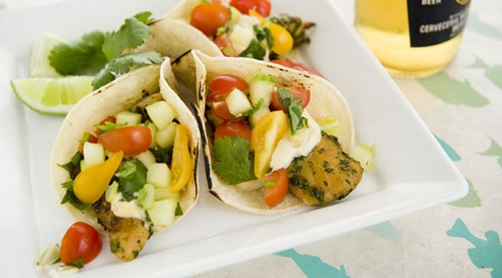 Fish Tacos with Tomato Salad and Chipotle-Lime Crema Recipe