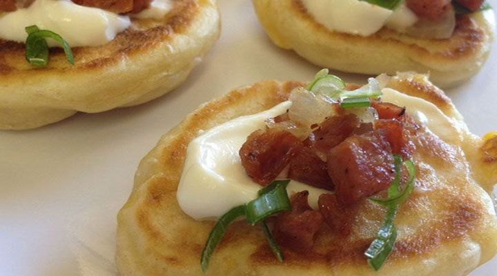 Griddled Corn Cakes with Bacon and Sour Cream Recipe