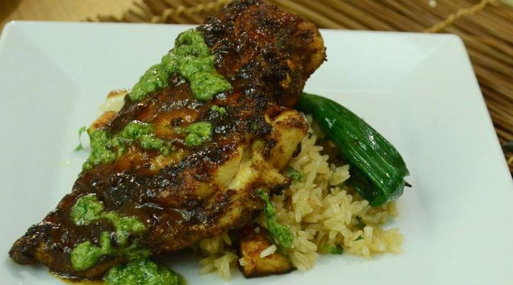 Grilled Chicken Breasts with Ricotta Salata Salsa Verde Recipe