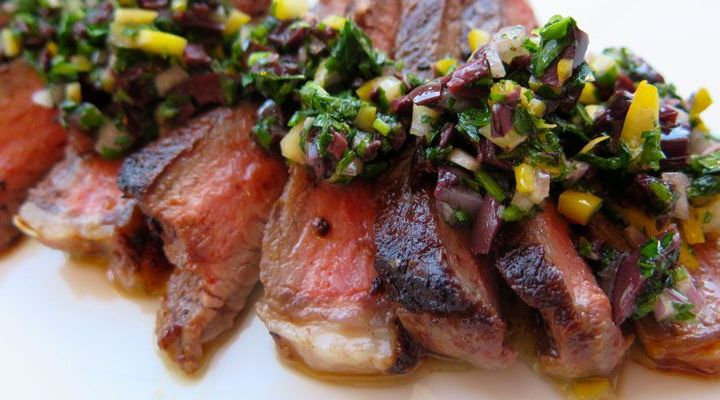 Harissa-Crusted Flank Steak with Presserved Lemon Relish Recipe