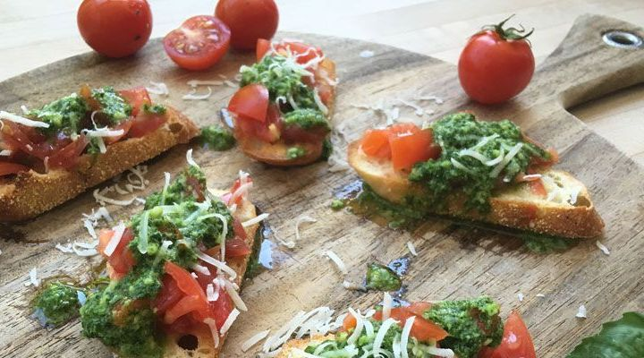 Heirloom Tomato Bruschetta with Basil Pesto Recipe