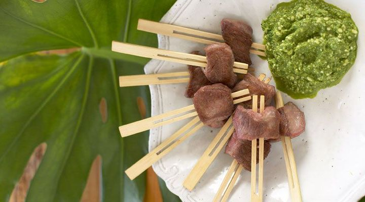 Lamb Skewers with Mint Pesto Recipe