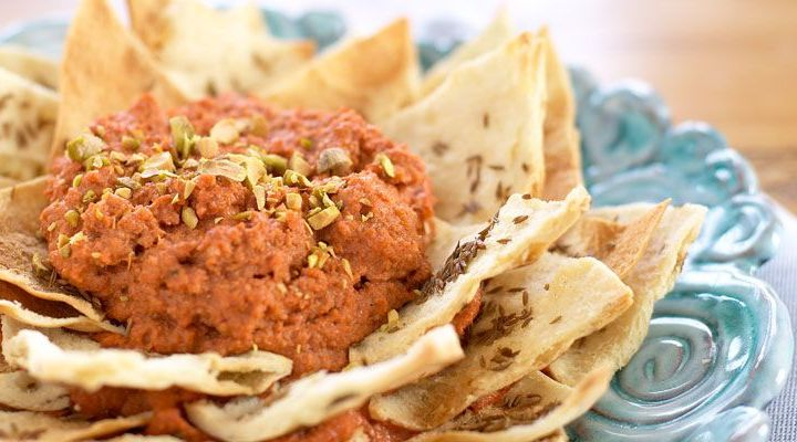 Mediterranean: Roasted Eggplant and Pomegranate Molasses Dip with Cumin Pita Chips Recipe