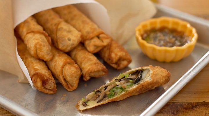 Shiitake Egg Rolls with Sake Dipping Sauce Recipe