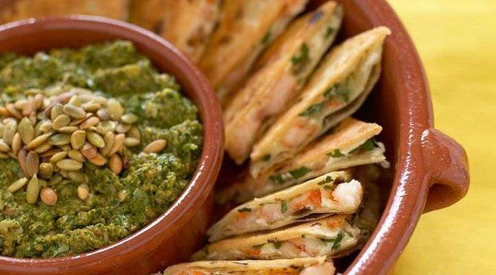 Shrimp Quesadillas with Tomatillo Salsa Recipe