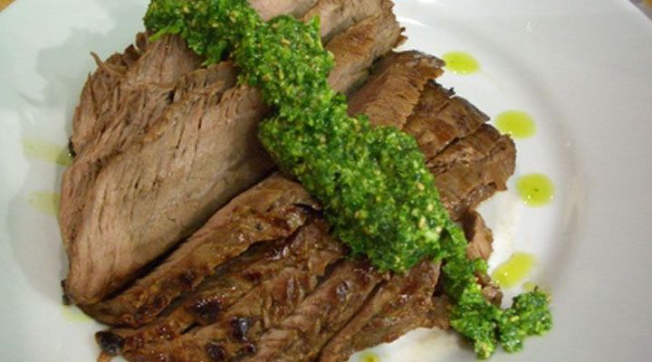 Soy-Marinated Flank Steak with Cilantro Sesame Pesto Recipe