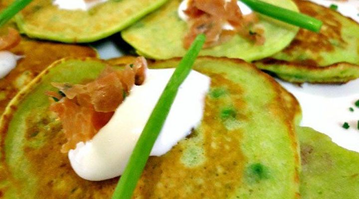 Sweet Pea and Mint Galettes with Prosciutto and Sour Cream Recipe