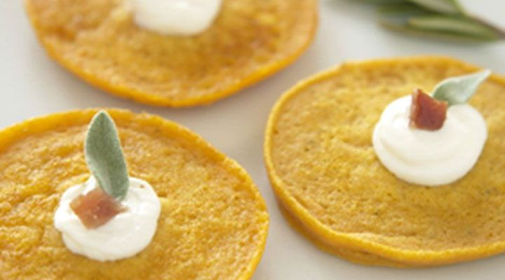 Sweet Potato and Bacon Galettes with Sage Creme Fraiche Recipe