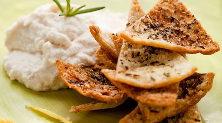 White Bean, Yogurt and Feta Dip with Herbed Pita Chips Recipe